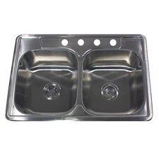 "<strong>Nantucket Sinks</strong> 33"" x 22"" 50/50 Double Bowl Stainless Steel Kitchen Sink"