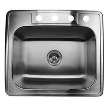 "25"" x 22"" Single Bowl Stainless Steel Kitchen Sink"