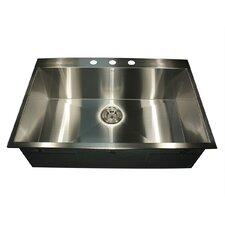 """33"""" x 22"""" Self Rimming Single Bowl Kitchen Sink"""