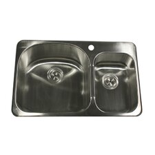"31.5"" x 21.38"" Self Rimming Double Bowl Kitchen Sink"