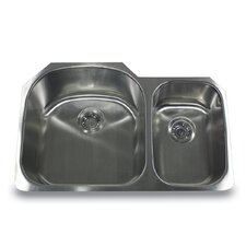 "<strong>Nantucket Sinks</strong> 31.5"" x 20.75"" Offset Double Bowl Undermount Kitchen Sink"