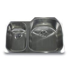 "31.5"" x 20.75"" Reversed Offset Double Bowl Undermount Kitchen Sink"