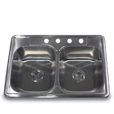 "33"" x 22"" Self Rimming Double Equal Bowls Kitchen Sink"