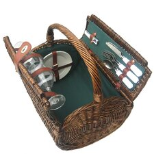 Tierce Picnic Basket in Hunter Green Lining