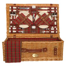 Majestic Picnic Basket in Red Plaid