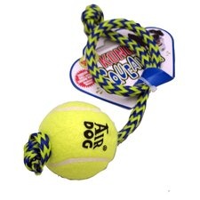 Med Squeaker Ball with Rope Dog Toy