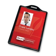 "ID Card Holder,Vertical,3-3/8""x2-1/8"",25/PK,Black"