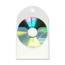 CD/DVD Pocket w/ Self-Adhesive Flap, 5 per Pack, Clear