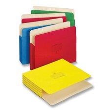 "File Pocket, 3-1/2"" Expansion, Letter, 5 per Pack, Assorted"