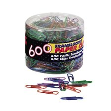 <strong>Officemate International Corp</strong> Translucent Paper Clips,Vinyl,Small,600/Tub, BE/PE/GN/RD/SR