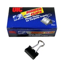 "Binder Clips,Mini,9/16""Wide,1/4"" Cap, 12/BX, Black/Silver"