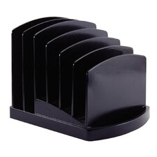 "Incline Sorter, 6 Compartmentss, 7-1/2""x7-1/2""x6-3/8"", Black"