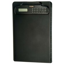 "Plastic Clipboard,w/Calculator Dual Battery, 9""x13-3/4"", Black"