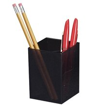 "Pencil cup, Three Compartmentss, 2-7/8""x2-7/8""x4"", Black"