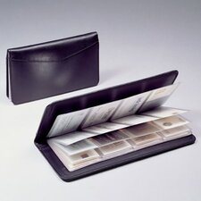 Black Cowhide Leather 3 High Business Card File