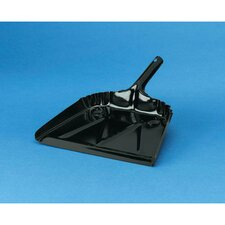 "16"" Heavy Duty Metal Dustpan 20 Gauge Steel in Black"