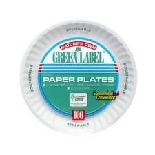 Round Uncoated Paper Plate in White