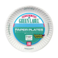 "<strong>AJM Packaging Corporation</strong> (100 Per Container) 9"" Uncoated Paper Plate in White"