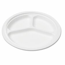 "Naturehouse Bagasse 10"" Three-Compartment Plate, 125/Pack"