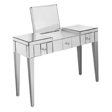 Mirrored Furniture Console Table with Folding Mirror