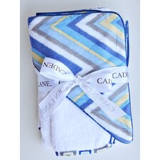 <strong>Caden Lane</strong> Ikat Chevron Hooded Towel Set