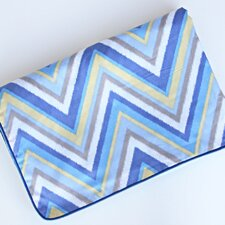 Ikat Chevron Blue Piped Blanket