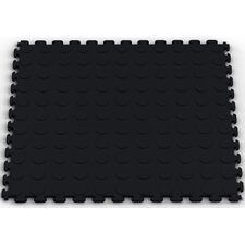 Raised Coin Multi-Purpose PVC Floor Tile in Black (Pack of 6)