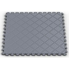 Raised Diamond Pattern Garage PVC Floor Tile in Metallic Pewter (Pack of 6)