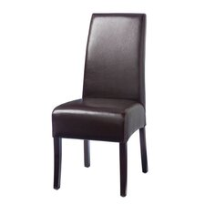 Hudson Leather Dining Chair with White Stitch in Brown (Set of 2)