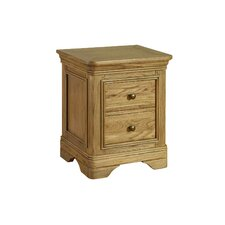 Regal Oak 2 Drawer Bedside Table