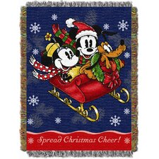 <strong>Northwest Co.</strong> Entertainment Holiday Mickey Mouse Sleigh Ride Tapestry Throw