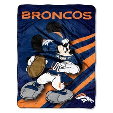 NFL Denver Broncos Mickey Mouse Polyester Raschel Throw
