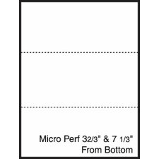 "8.5"" x 11"" Blank Pre-Perfed and Punched Copy Paper with Perf 3.67"" and 7.33"" from Bottom (2500 Sheets)"