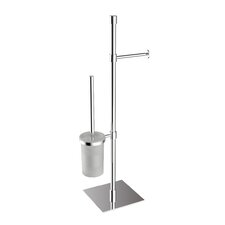 "Complements 9.1"" x 9.1"" Rampin Towel Stand with Toilet Paper Holder and Toilet Brush Holder in Polished Chrome"
