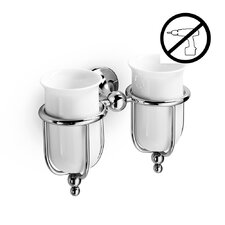 Venessia Glue Self-Adhesive Double Holder with Ceramic Tumblers