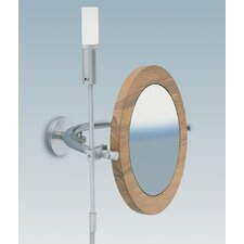 "WS1 Wall-mount Magnifying (3X) Nutwood Frame Makeup Mirror with Halogen Light, 8.6"" Extension"