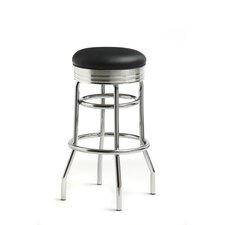 "Retro 30"" Backless Swivel Barstool in Bright Chrome"