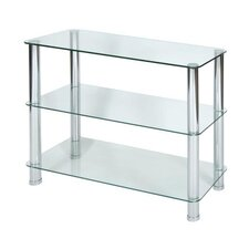 3 Tier Clear Glass Shelving Unit with Chrome Legs
