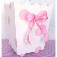 Pink Polka Dot Wooden Wastebasket with Bow