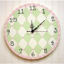 <strong>New Arrivals</strong> Harlequin Wall Clock in Pink / Green