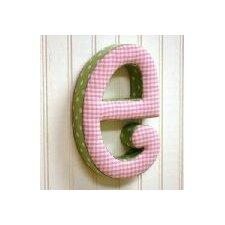 """e"" Fabric Letter in Pink / Green"