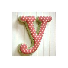 """y"" Fabric Letter in Pink / Green"
