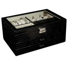 Alana Glass Top Locking Jewelry Box in Black