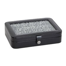 Janey Faux Leather Glass Top Jewelry Box