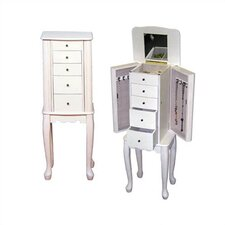 Alexis Slim Jewelry Armoire in Ivory