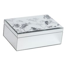 Chambord Mirrored Glass Jewelry Box with Botanical Design