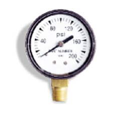 "0-200 PSI, 0.25"" Bottom Pressure Gauge"