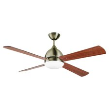 Borneo 2 Light Ceiling Fan in Antique Brass with Remote