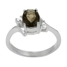 Sterling Silver Oval Cut Smokey Topaz CZ Ring