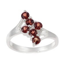 Sterling Silver Six Stone Garnet Ring